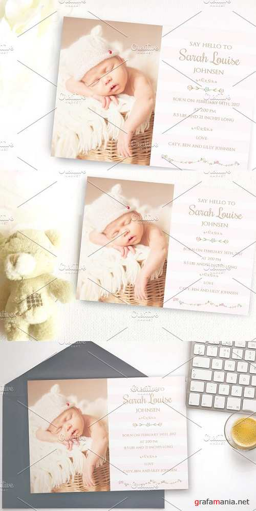 Flower Baby birth announcement card 1544243
