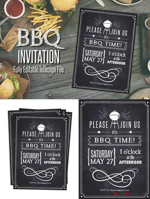 Chalkboard BBQ Party Invite 1513730