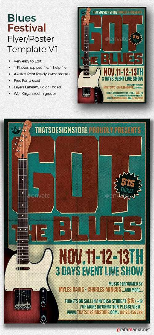 Blues Festival Flyer Template V1 20035222
