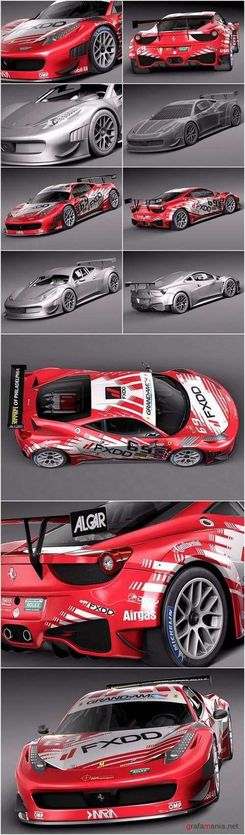 3D Model Ferrari 458 GT3 Race Car 2014