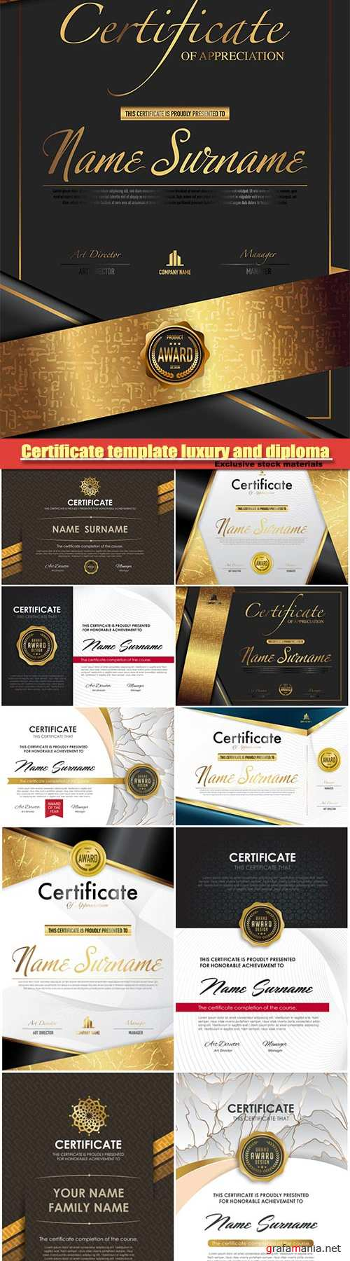 Certificate template luxury and diploma vector illustration