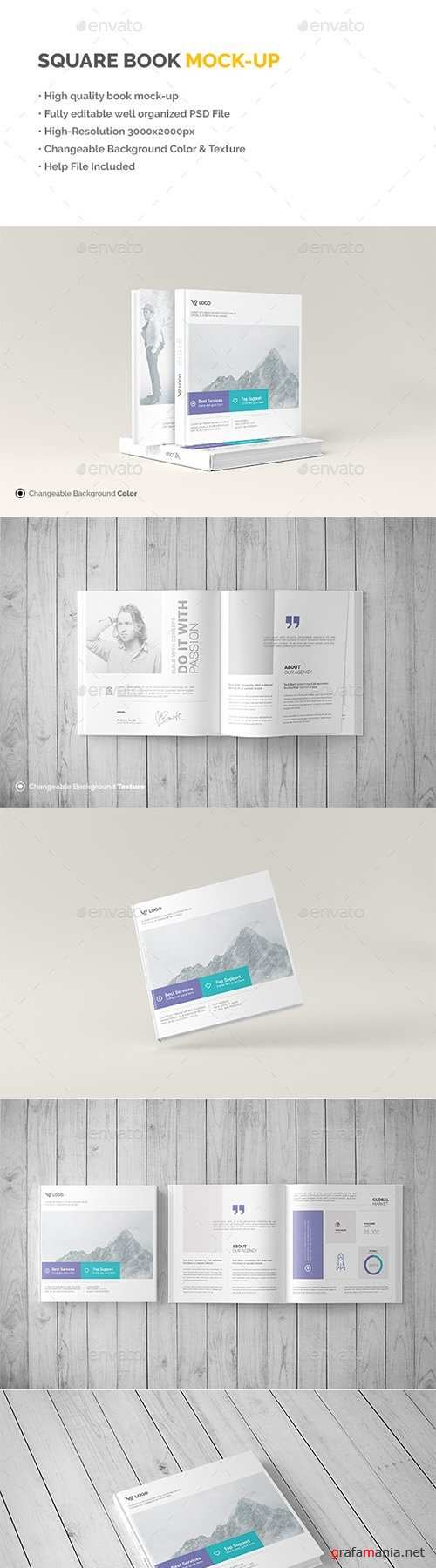 Square Book Mock-Up - Hardcover 19621156