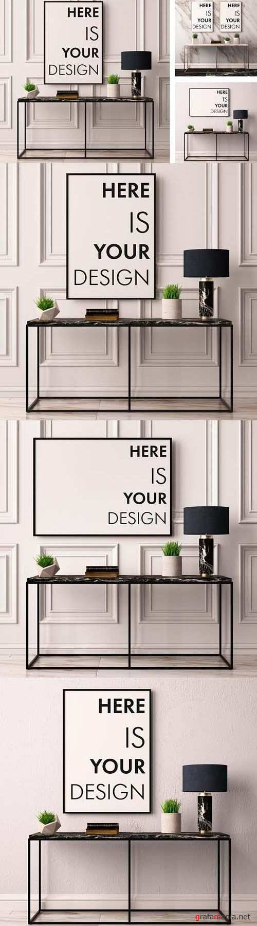 Mock up poster with a console table 1469345