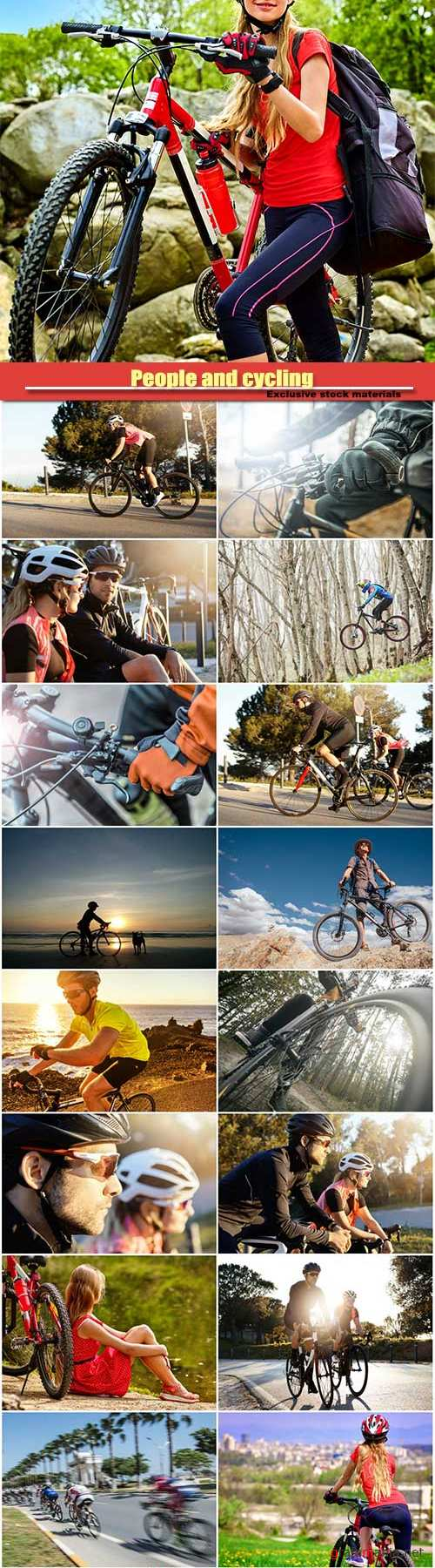 People and cycling, fitness and active lifestyle