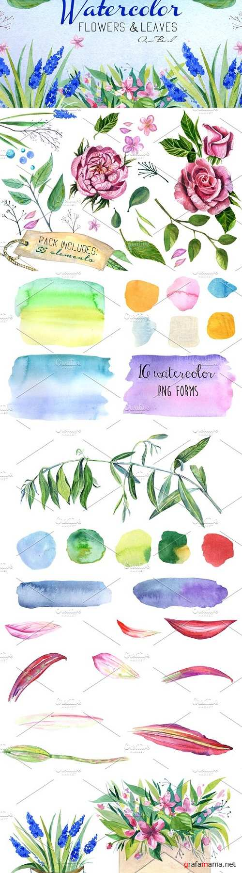 Watercolor hand painted florals kit 1491672