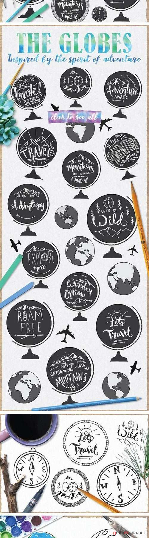 Hand Drawn Globe Vector Bundle 1412814
