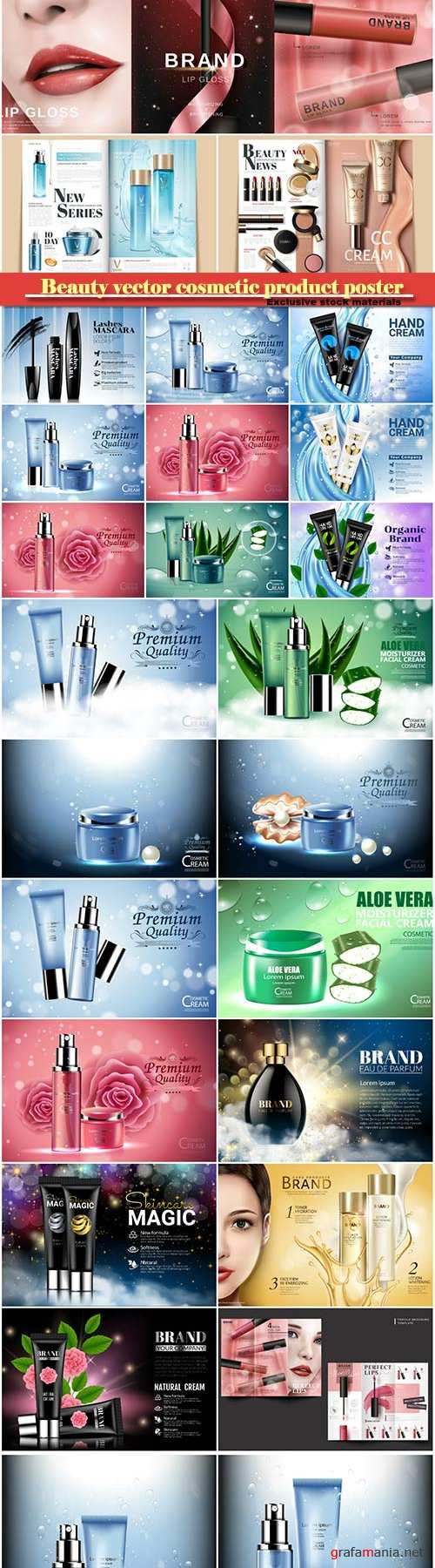 Beauty vector cosmetic product poster