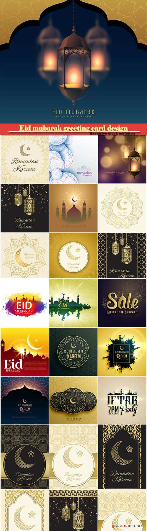 Eid mubarak greeting card design in islamic decoration, ramadan kareem vector card