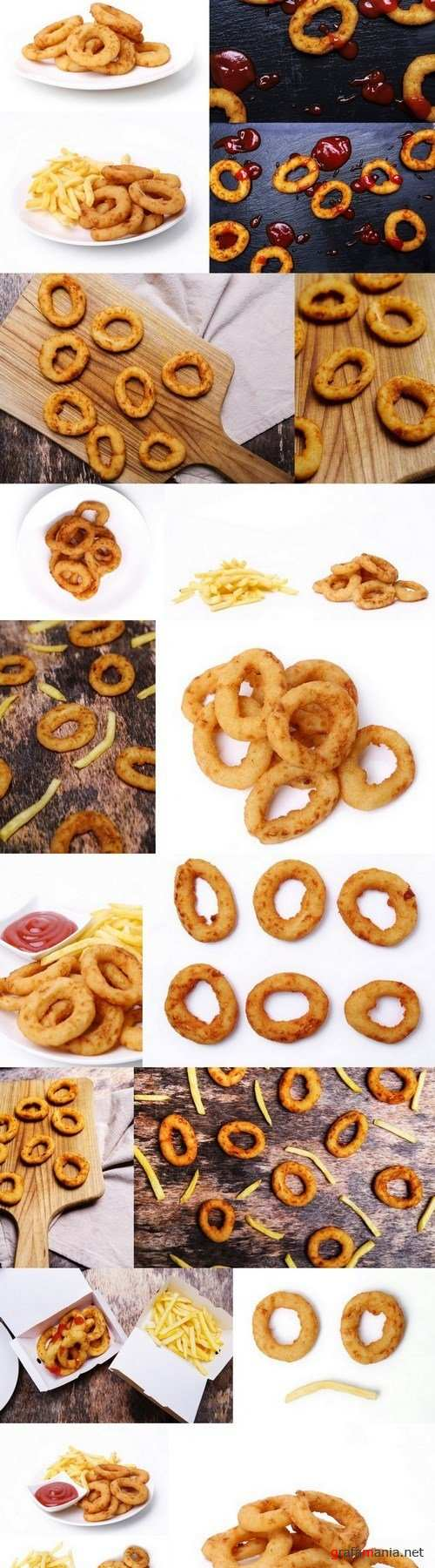 Onion rings and french fries - 19xUHQ JPEG Photo Stock