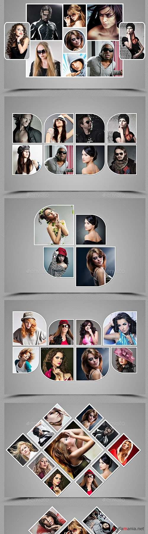 3 Collage Photo Frame Template Bundle 19596991
