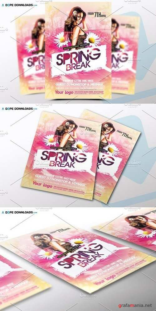 Spring Break Flyer Template 1472352