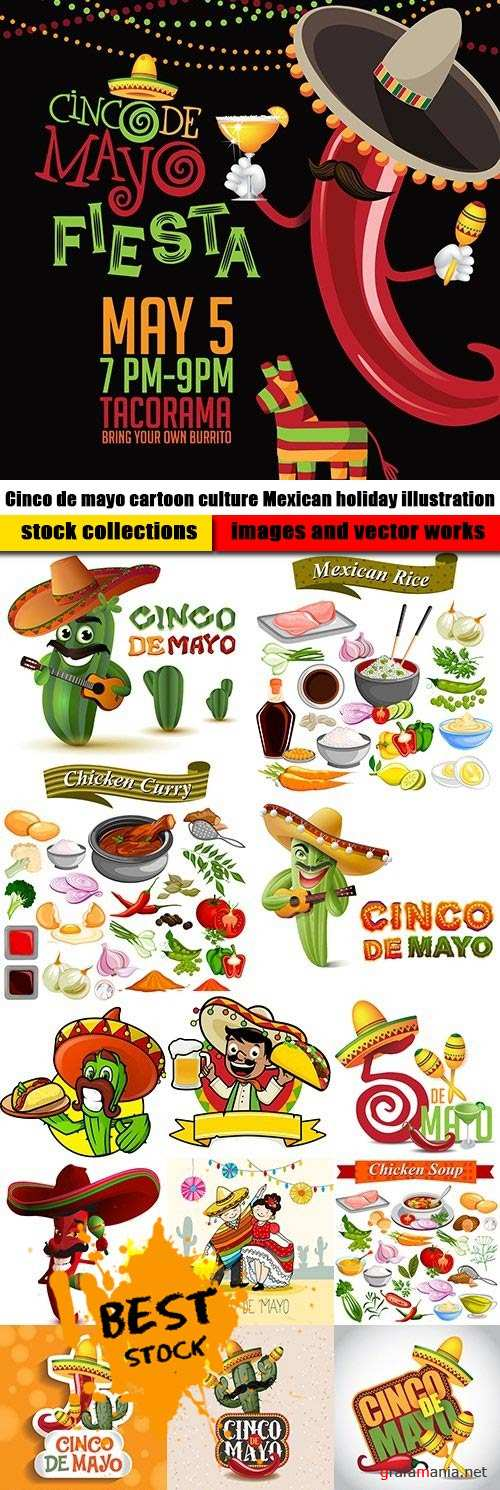 Сinco de mayo cartoon culture Mexican holiday illustration