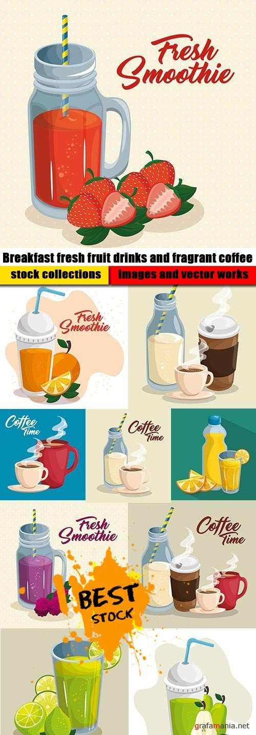 Breakfast fresh fruit drinks and fragrant coffee