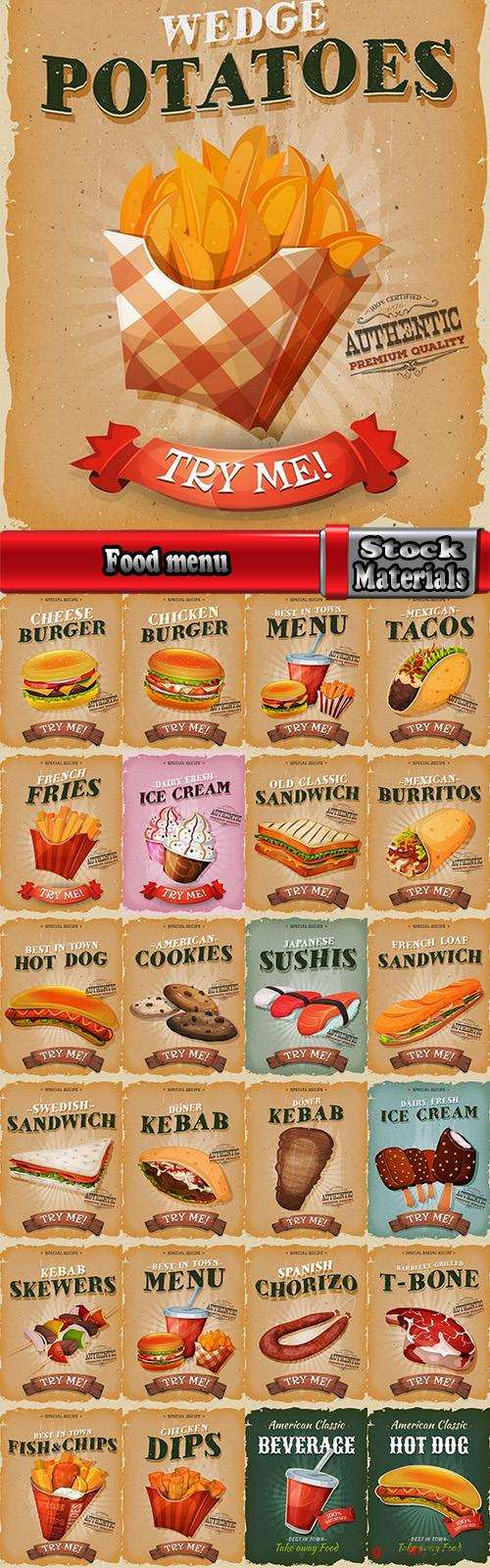 Food menu barbecue burger hot dog drink soda flyer banner 25 EPS