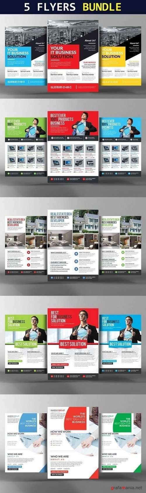 5 Corporate Flyers Bundle 1263571