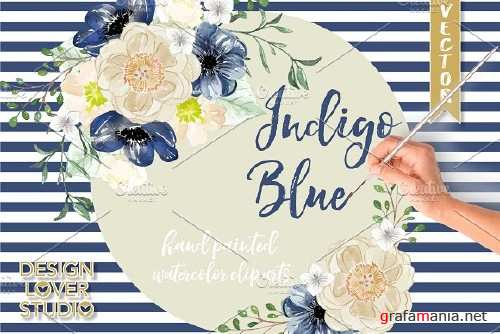 Watercolor Indigo Blue clip arts - 1044903