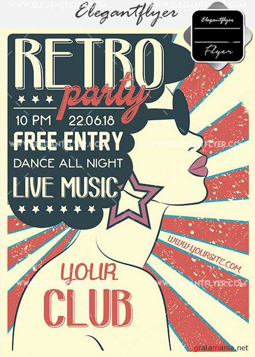 Retro Party V22 Flyer PSD Template + Facebook Cover