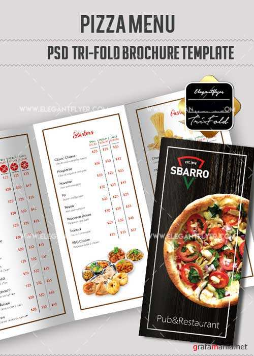 Pizza V13 Tri-Fold PSD Brochure Template food menu