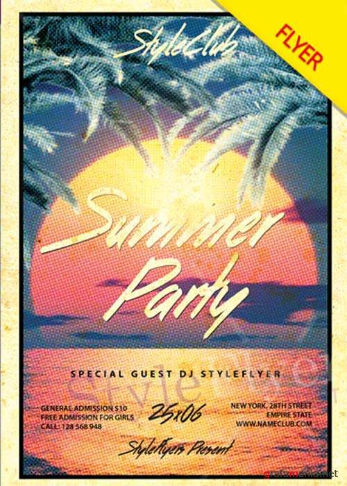 Summer Party V37 Flyer PSD Template