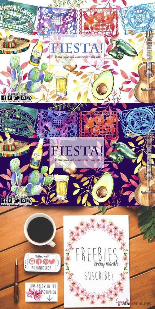 Mexican Fiesta watercolor Clip art 1473200