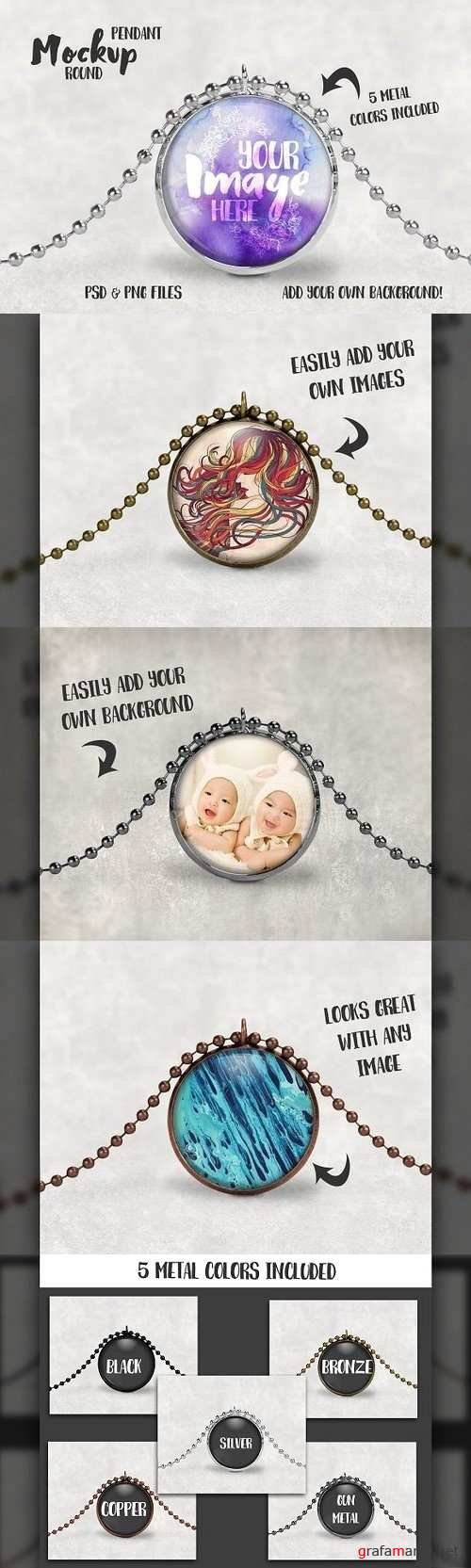 Round pendant with ball chain mockup 1243592