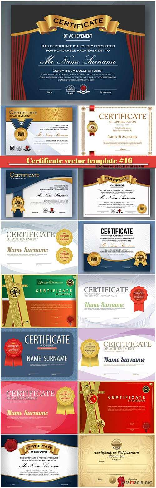 Certificate and vector diploma design template #16