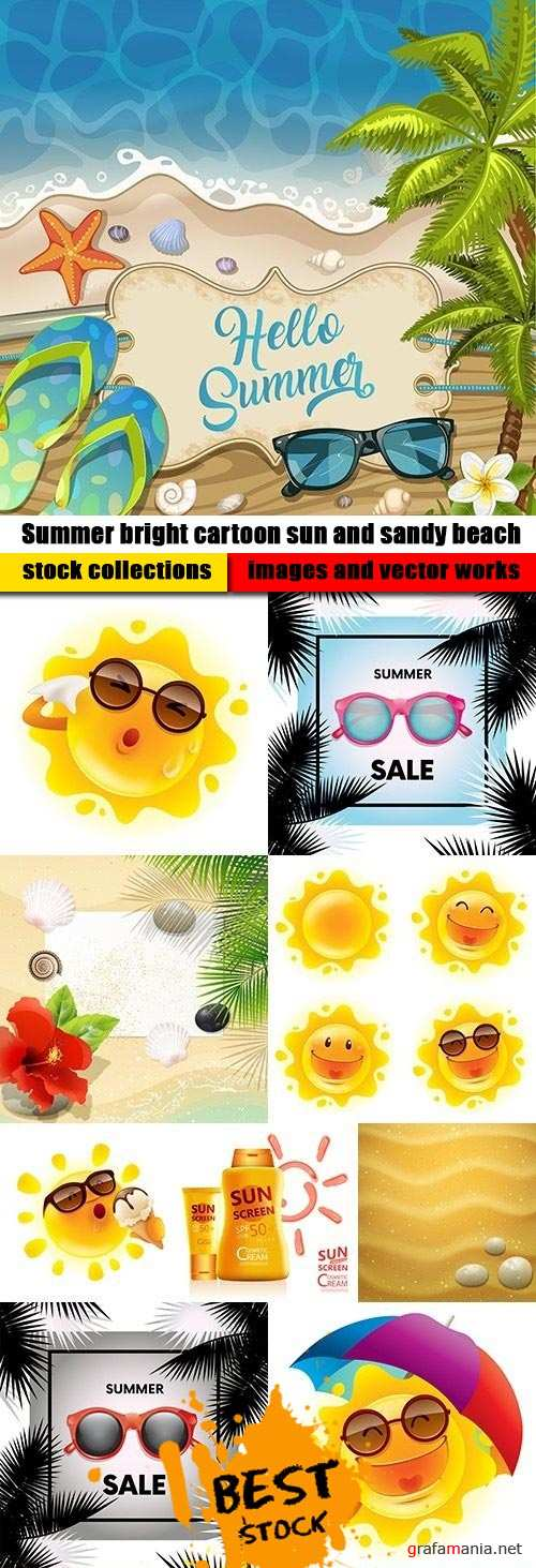Summer bright cartoon sun and sandy beach