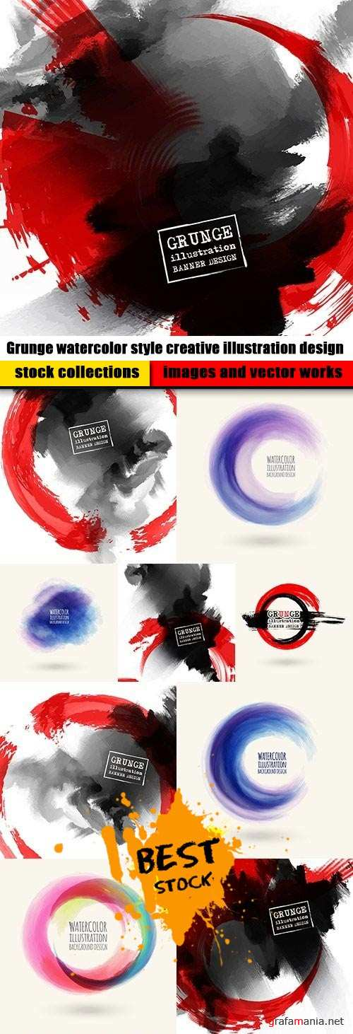 Grunge watercolor style creative illustration design