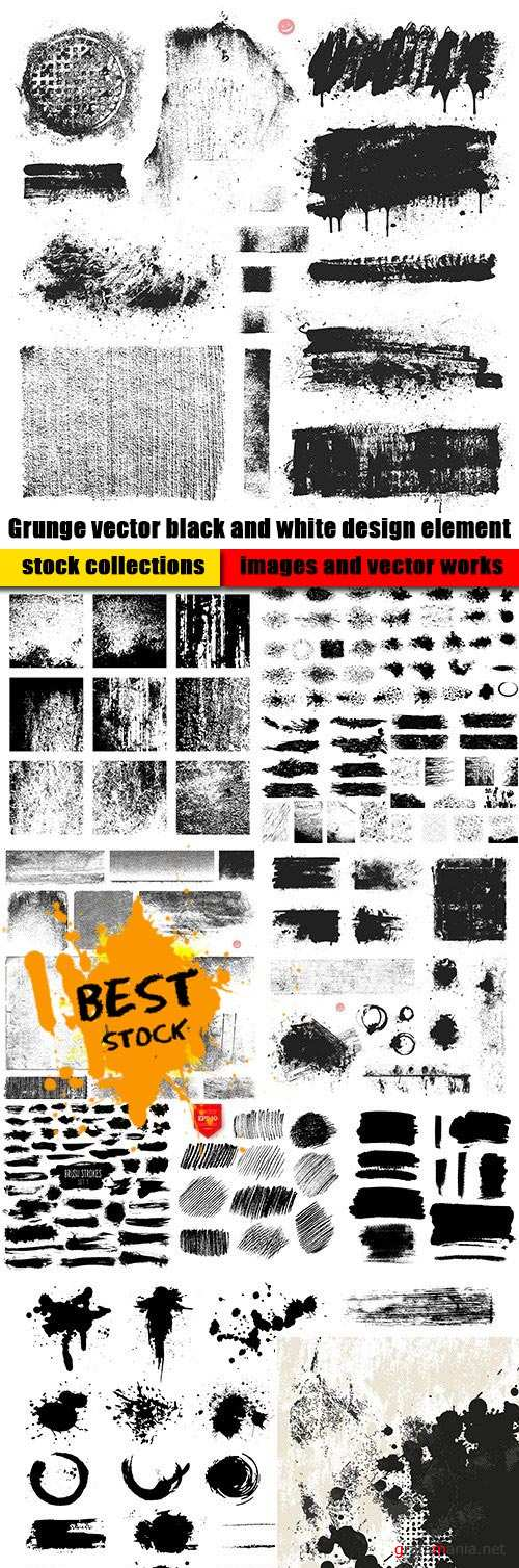 Grunge vector black and white design element
