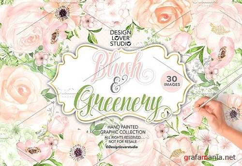 Watercolor BLUSH and GREENERY design - 1458587