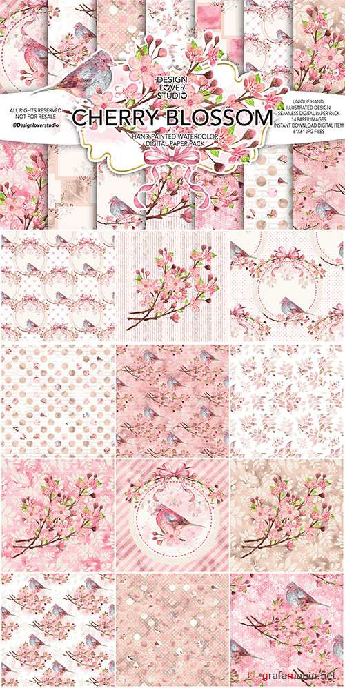 Watercolor CHERRY BLOSSOM digital paper pack