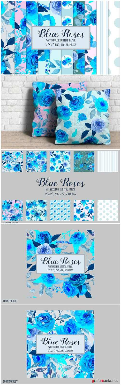 Watercolor Pattern Blue Rose