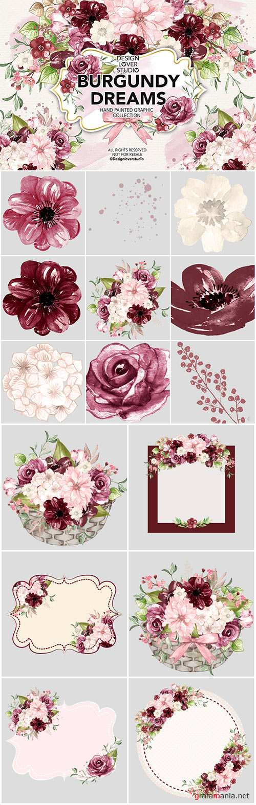 Watercolor BURGUNDY DREAMS design