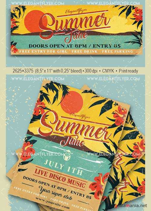 Summer Time V25 Flyer PSD Template + Facebook Cover