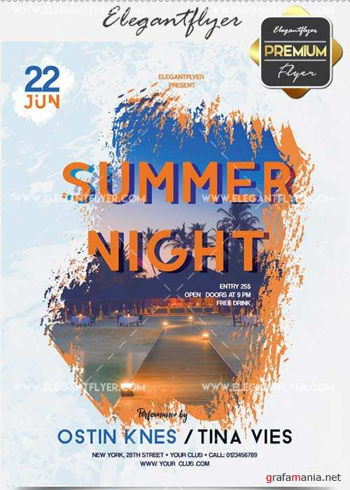 Summer Night V17 Flyer PSD Template + Facebook Cover