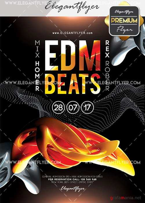 Edm Beats V2 Flyer PSD Template + Facebook Cover