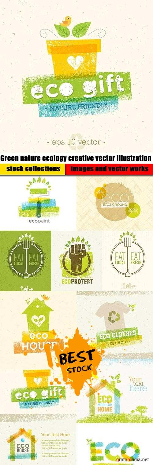 Green nature ecology creative vector illustration
