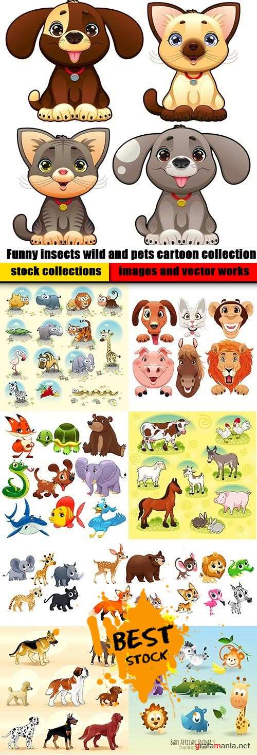 Funny insects wild and pets cartoon collection