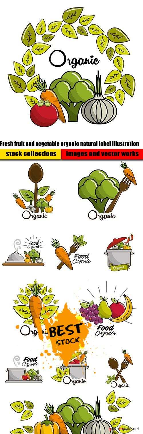 Fresh fruit and vegetable organic natural label illustration