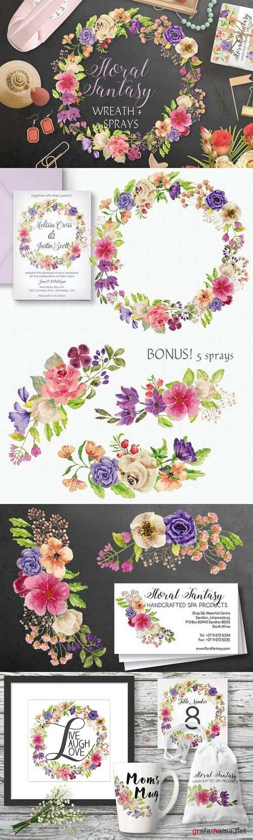 Watercolor wreath of mixed florals 1481621