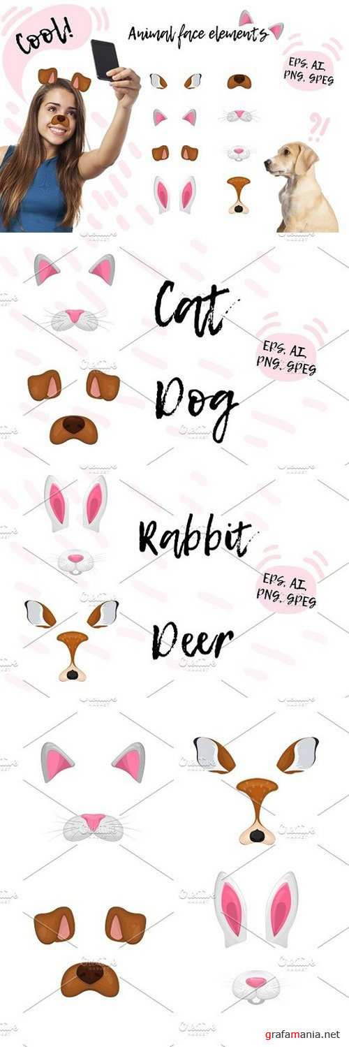 Animal face elements collection. 1481582