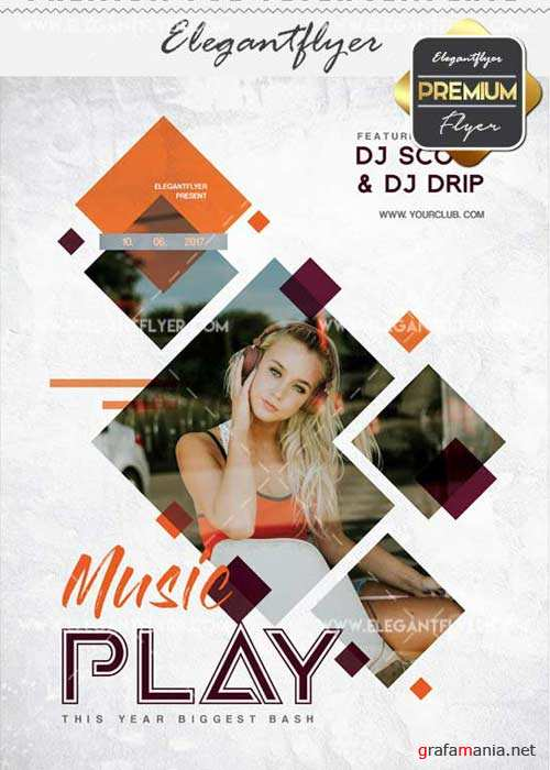 Music Play V29 Flyer PSD Template + Facebook Cover