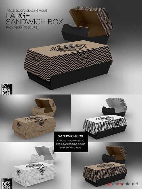 Large Sandwich Box MockUp