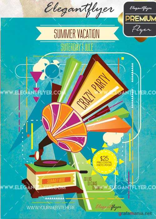 Summer Crazy Party V20 Flyer PSD Template + Facebook Cover