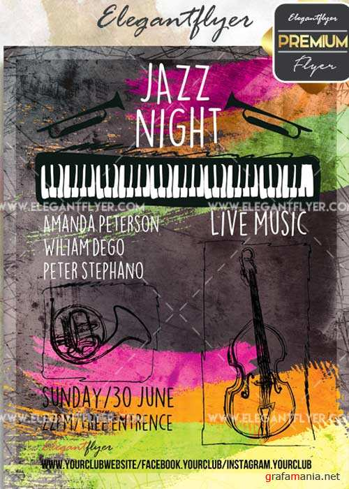 Jazz Night V25 Flyer PSD Template + Facebook Cover