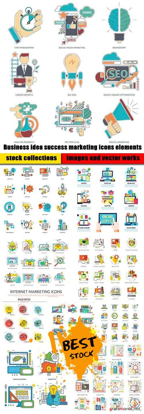 Business idea success marketing icons elements