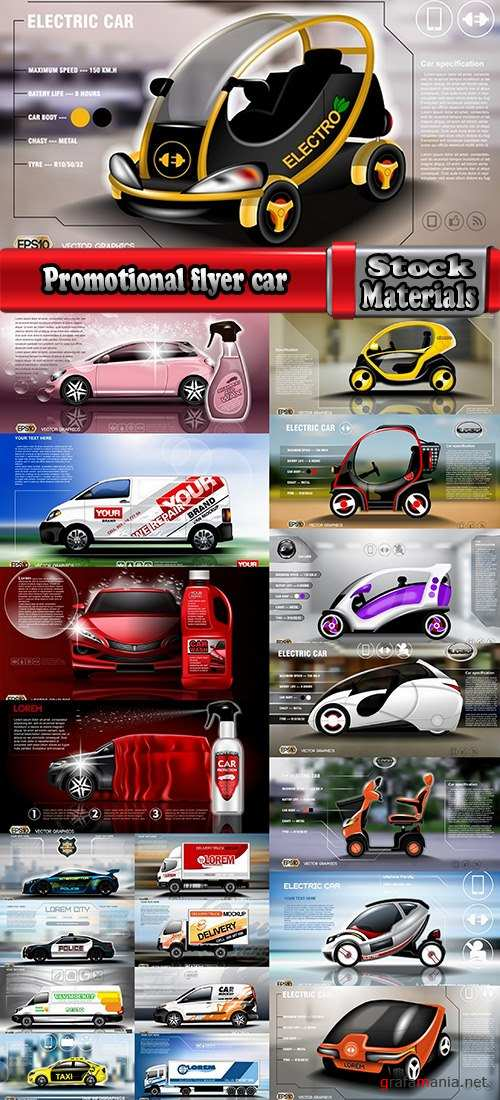 Promotional flyer car delivery futuristic car advertising 20 EPS
