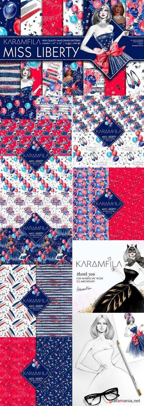 4th of July Digital Paper Pack 1505760