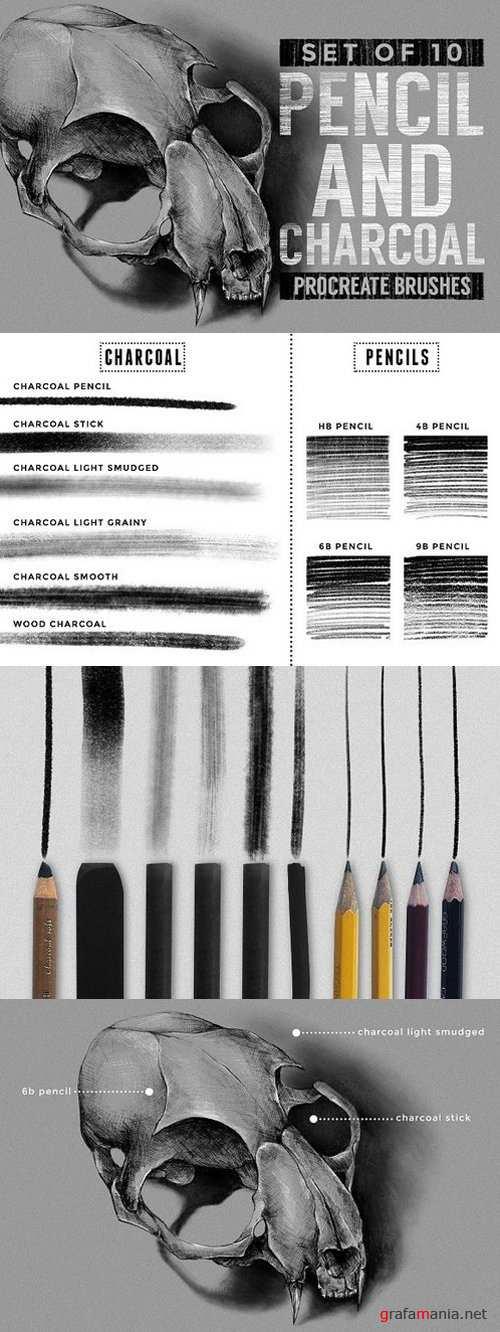 Pencil & charcoal Procreate brushes 1518757