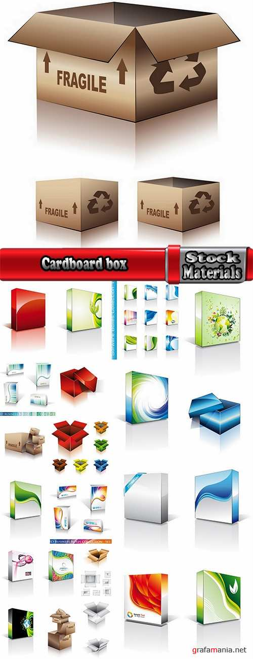Cardboard box packing example template 25 EPS